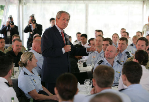 President George W. Bush addresses members of the Australian Defense Force during a luncheon on Garden Island in Sydney, Sept. 5, 2007. White House photo by Eric Draper.