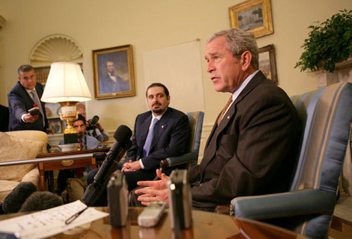President George W. Bush speaks with members of the press during a meeting with Saad Hariri, the leader of the Parliamentary Majority in Lebanon, Thursday, Oct. 4, 2007 in the Oval Office.
