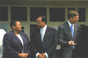 Assistant Secretary Frazer enjoying a moment with President Biya of Cameroon (State Department Photo).