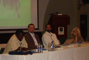 A panel on regional enforcement cooperation was moderated by Ladislav Miko, Director, Directorate B: Protection the Natural Environment, Environment DG, European Commission, along with panelists, Julius Kipngetich, Director, Kenya Wildlife Service; Samuel Wasser, University of Washington; and Rosalind Reeve, Chatham House, speak at the Eighth ICECE meeting in Cape Town, South Africa.  Claudia A. McMurray, Assistant Secretary in the Bureau of Oceans, Environment, and Science gave the keynote address at this meeting.[State Dept. Photo]