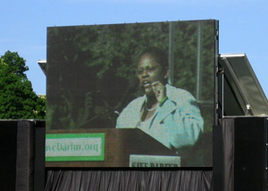 Assistant Secretary Frazer appears on large screen during her remarks to the Save Darfur rally crowd. [State Department Photo April 2006]