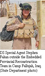 DS Special Agent Stephen Fakan outside the Embedded Provincial Reconstruction Team in Camp Fallujah, Iraq. [State Department photo]