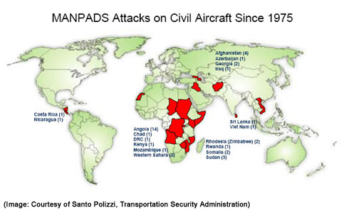 MANPADS Attacks on Civil Aircraft Since 1975. [Image: Courtesy of Santo Polizzi, Transportation Security Administration]