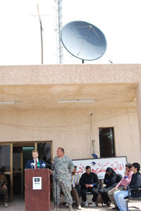 The U.S. Embassy Deputy Chief of Mission spoke (with translator standing next to him) at the opening of the Independent Radio & Television Network (IRTN) in Diyala on March 25, 2007. He congratulated the Iraqi broadcasters, calling them brave and courageous patriots of Iraq.