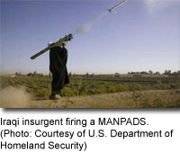 Iraqi insurgent firing a MANPADS. [Photo: Courtesy of U.S, Department of Homeland Security]