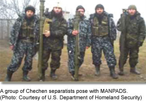 A group of Chechen separatists pose with MANPADS.