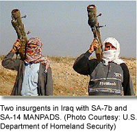 Two insurgents in Iraq with SA-7b and SA-14 MANPADS. [Photo: Courtesy of U.S. Department of Homeland Security
