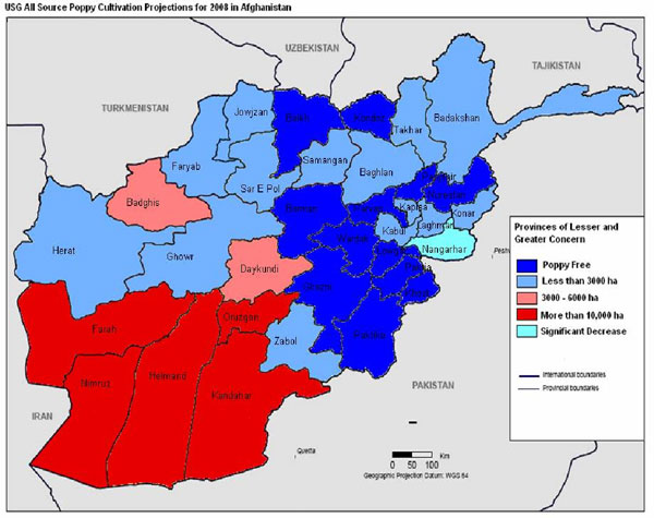 Map: All Source Poppy Cultivation Projections for 2008 in Afghanistan: Provinces of Lesser and Greater Concern--poppy free; less than 3000ha; 3000-6000ha; more than 10,000ha; significant decrease