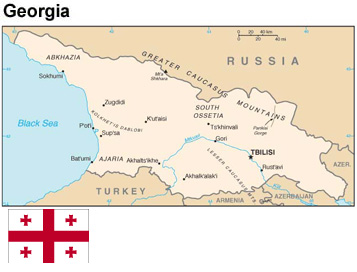 Map and flag of Georgia