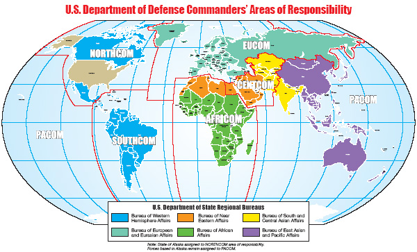 Clickable map shows the world divided into State Dept. regional bureas by colors and  Defense Dept. Combatant Commands area of responsibility delineated by line.
