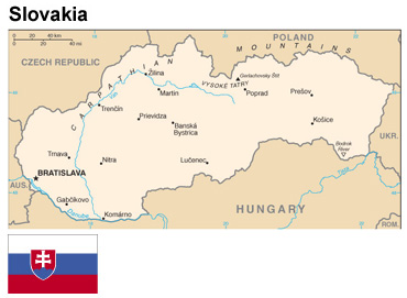 Slovakia:  Map and flag