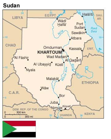Of Sudan - Wad madani map