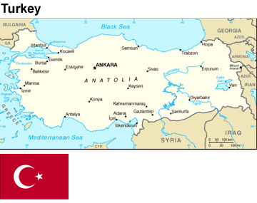 Turkey:  flag and map