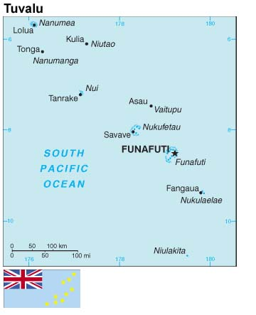 Map and flag of Tuvalu