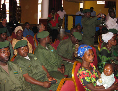 The rangers of the Institut Congolais pour la Conservacion de la Nature and their families are honored in a ceremony on July 15, 2008 hosted by the U.S. Department of State and officials of the Congolese Ministry of Environment, and provincial authorities of North Kivu. [State Dept. Photo]