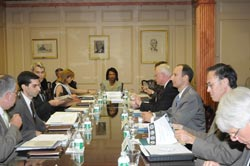 Secretary of State Condoleezza Rice chaired the President's Interagency Task Force meeting  on July 11, 2008. State Department Photo.