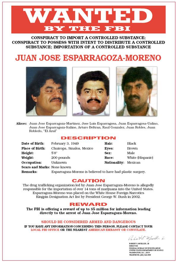 Juan Jose Esparragoza-Moreno -- Wanted Poster