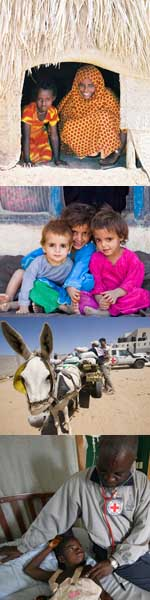 Top: Mother and daughter; Middle: Refugee children; Middle: Donkies carring supplies; Bottom: Health worker with boy. [State Dept. Photos]