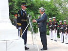 Japanese Prime Minister Junichiro Koizumi lays a wreath during a ceremony at the Tomb of the Unknown Soldier, Arlington National Cemetery.