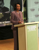 Secretary Rice delivers remarks at the White House Summit on International Development on October 21, 2008.  ©AP Image