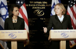Secretary Rice and Foreign Minister Tzipi Livni during their joint press availability in Jerusalem on May 4, 2008.  AP Image