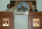 Secretary Rice and Palestinian Authority President Mahmoud Abbas at podium during joint press availability. State Dept. photo