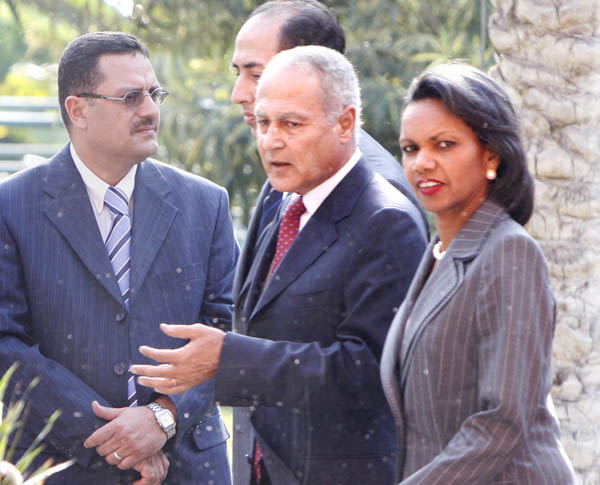 Secretary Rice walking with Egyptian Foreign Minister Ahmed Abu el-Gheit. c AP Photo