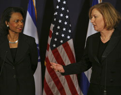 Secretary Rice listening as Israeli Foreign Minister Livni speaks at press conference in Jerusalem, June 15, 2008. ©AP Photo