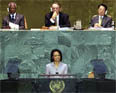 Secretary Rice addresses the United Nations General Assembly September 17, 2005. [© AP Images file photo]