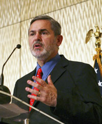 U.S. Assistant Secretary Richard Boucher speaks during a press conference in Colombo, Sri Lanka, Sunday, Aug. 3, 2008. [AP Image]