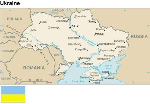 Ukraine:  Map and flag
