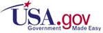 USA.gov: Government Made Easy in red and blue letters on white background. A red star with blue tail shoots over initials USA