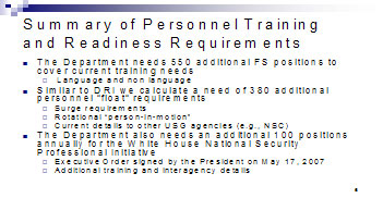 Figure 3: Summary of Personnel Training and Readiness Requirements