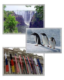 [1] Victoria Falls, Zimbabwe. (State Dept photo).  [2] Penguins.  [3] Flags of G-8 countries. (Photo courtesy of G-8 Italia)
