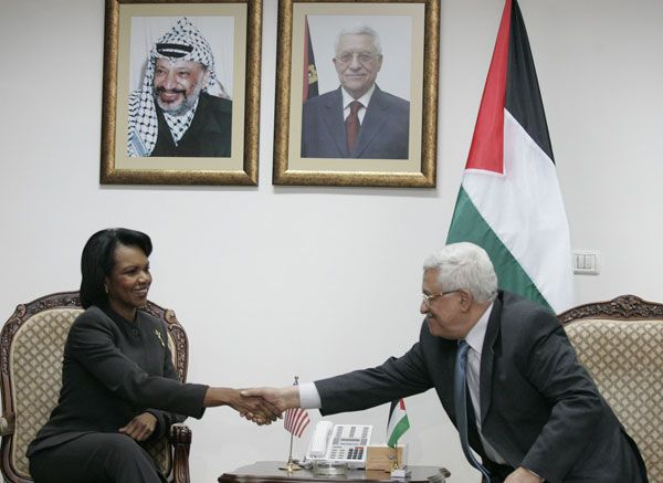 Date: 11/07/2008 Location: Ramallah Description: Secretary Rice meets with Palestinian Authority President Mahmoud Abbas in Ramallah at their November 7 press conference.  © ©AP Photo