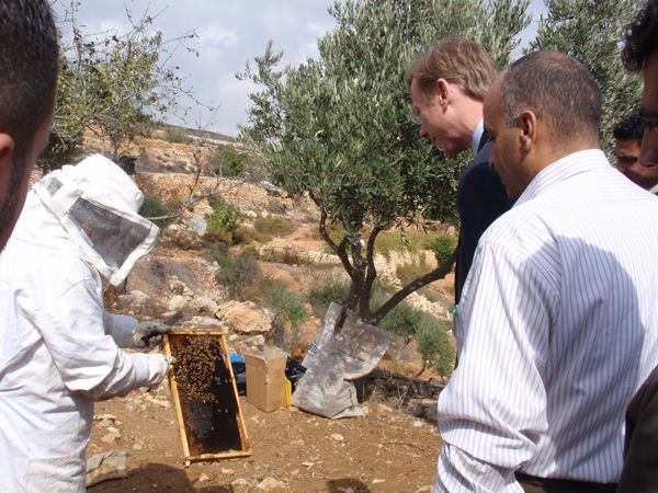 Date: 10/22/2008 Location: West Bank. Israel Description: Assistant Secretary Brian H. Hook visits a World Food Program project site in the West Bank, which trains women in beekeeping as a way to generate income for their families.  State Dept Photo