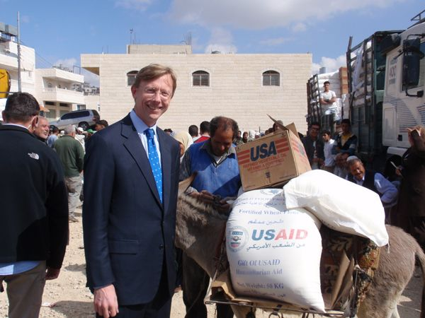 Date: 10/22/2008 Location: West Bank, Israel Description: Assistant Secretary Brian H. Hook visiting a World Food Program distribution site in the West Bank. By the end of 2009, the United States will provide over $5.5 billion to fight against global hunger - more assistance than any other country. State Dept Photo