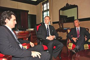 Date: 08/19/2008 Location: Costa Rica Description: Assistant Secretary Brian H. Hook meets with Minister of Foreign Relations and Costa Rica's permanent ambassador to the United Nations, Bruno Stagno along with U.S. Ambassador to Costa Rica, Peter E. Cianchette.
