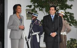 Date: 12/10/2008 Location: Panama City, Panama Description: Secretary Rice and Panamanian President Torrijos at Presidential Palace, Panama City, Panama, December 10, 2008. State Dept. photo. State Dept Photo