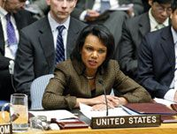 Date: 12/16/2008 Description: Secretary Rice addresses the UN Security Council on situation in the Middle East. © UN Photo