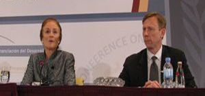 Date: 11/30/2008 Location: Doha, Qatar Description: Assistant Secretary Brian H. Hook and Director of U.S. Foreign Assistance Henrietta H. Fore brief the media on day two of the United Nations conference on financing for development in Doha, November 30, 2008.  State Dept Photo