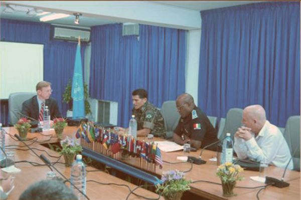 Date: 08/29/2008 Location: Haiti Description: Assistant Secretary Brian H. Hook meeting with the commander of United Nations Stabilization Mission in Haiti (MINUSTAH),  Major General Carlos Alberto Dos Santos Cruz of Brazil. © White House Photo