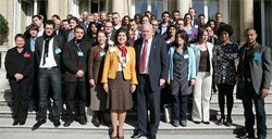 Date: 10/23/2008 Description: Senior Advisor Farah Pandith, Amb. Stapleton and the Thirty Under Thirty, October 23, 2008.   [Patrick Maulave, U.S. Embassy Paris]