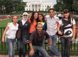 Date: 09/12/2008 Description: Italian Muslim students in front of the White House during their trip to the U.S. September 12-28, 2008. [U.S. Embassy Rome]