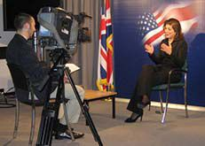 Date: 09/01/2008 Description: Farah Pandith speaking with the Islam Channel in the embassy's studio [Claire Parvin, U.S. Embassy London]