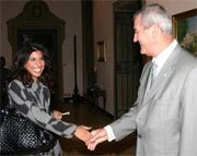 Date: 09/29/2008 Description: Ambassador Spogli welcomes former Edward R. Murrow Journalism Program participant, Karima Moual, to the Iftaar dinner, September 29, 2008.   [Marco Iacoella, U.S. Embassy Rome]