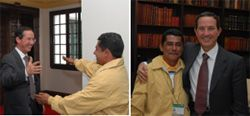 Date: 11/01/2008 Description: The emotional reunion of ex-FARC hostage with his demobilized captor, who he taught to read during his lengthy captivity.  Photo courtesy of Colombian Ministry of Defense