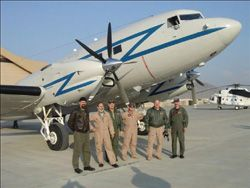 Date: 11/01/2008 Description: INL Air Wing Contract Flight Crew in Front of the DC-3TP in Kabul, Afghanistan.  Photo by Rogers Woolfolk